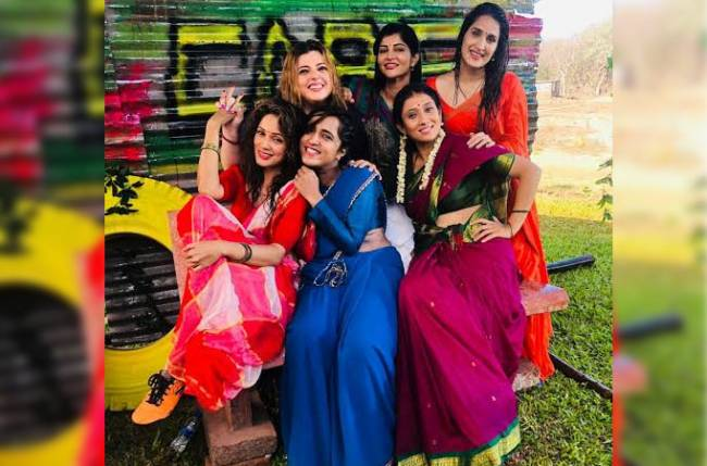 Sagarikha Ghatge, Vidhya Malwade, Delnaaz Irani, Pritam Kagne, Usha Naik and Neha Jjawade who all feature in Marathi film Monsoon football